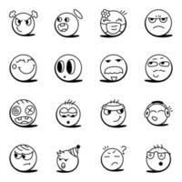 conjunto de emojis expressivos vetor