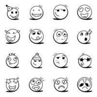 conjunto de emoticons vetor
