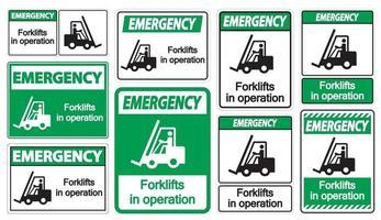 empilhadeiras de emergência em sinal de símbolo de operação isolam em fundo transparente, ilustração vetorial vetor