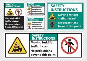 perigo de tráfego de empilhadeira em movimento, sem pedestres além deste ponto, sinal de símbolo isolado em fundo transparente, ilustração vetorial vetor