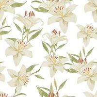 flor tropical de lírio branco em aquarela sem costura padrão vetor