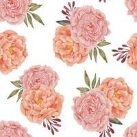 arranjo de flores de peônia aquarela padrão sem emenda vetor