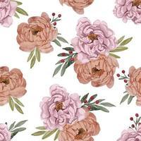 bela aquarela peônia flor padrão sem emenda vetor