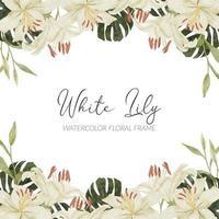 aquarela arranjo de flores tropicais de lírio branco com monstera vetor