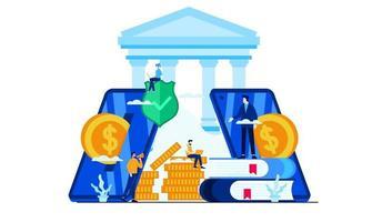 gerenciar finanças economizar com banco móvel economizando ilustração vetorial online design plano vetor