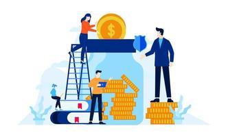 investimento futuro, minipessoas, economizar dinheiro na ilustração plana do frasco vetor
