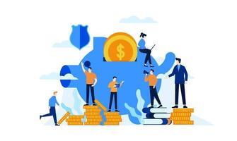 gerenciar finanças poupança de investimento em um fundo de modelo de ilustração vetorial de cofrinho vetor