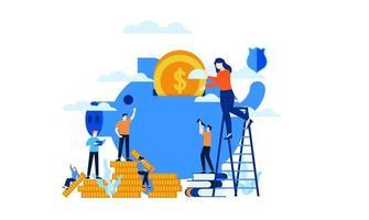 gerenciar finanças, investimento economizar em um cofrinho ilustração vetorial conceito modelo de fundo pode ser usado para apresentação web banner ui ux landing page vetor