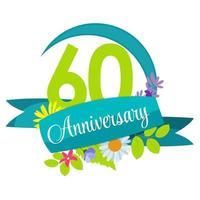 Modelo de flor fofa natureza ilustração vetorial sinal de aniversário de 60 anos vetor