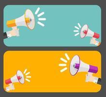 mão com megafone e ilustração vetorial de balão de fala vetor