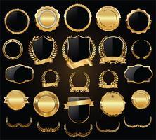 Ouro luxo e prata coleção de elementos de design vetor