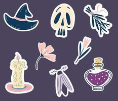 adesivos mágicos para o dia das bruxas. conjunto de adesivos, patches em estilo cartoon. chapéu de bruxa, caveira, flores, poção, traça, vela, ramo de ervas. feitiçaria espiritual, elementos esotéricos místicos. vetor