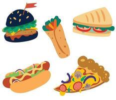 Conjunto de junk food de rua. hambúrguer, hambúrguer, pizza, sanduíche, burrito e cachorro-quente. comida tradicional para levar em rede de lanchonetes. alta caloria. ilustração vetorial isolada em um fundo branco vetor