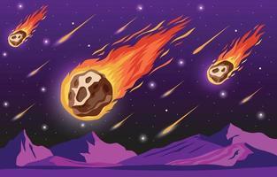 chuva de meteoros no espaço sideral vetor