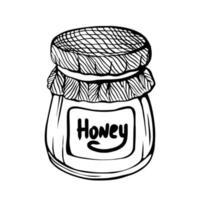 um pote de mel, isolado em um fundo branco. mel de abelha. fortalecimento do sistema imunológico. ilustração desenhada à mão no estilo doodle. vetor