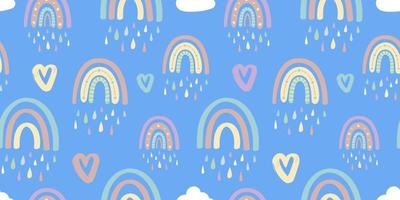 padrão sem emenda de arco-íris e corações fofo. padrão romântico para o dia dos namorados. Ilustração criativa para crianças em um estilo elegante escandinavo. ilustração vetorial vetor