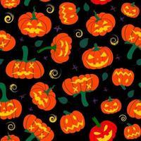 padrão de abóbora sem costura com folhas caídas de outono em um fundo preto. outono halloween pattern.design para halloween e ação de graças, têxteis, papel, impressão vetor