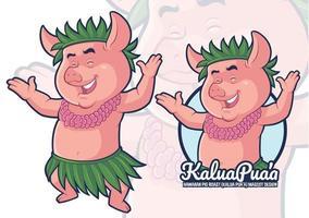 design de mascote assado de porco havaiano vetor