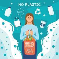 diga sem ilustração de conceito de plástico vetor