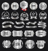 Coleção de ilustração vetorial retrô distintivo prata