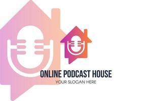 símbolo de podcast house online vetor