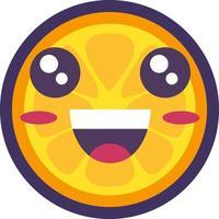laranja fruta tropical emoji vetor de emoção feliz