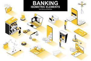 pacote de serviços bancários de elementos isométricos vetor