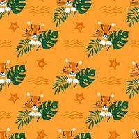 padrão sem emenda de verão com tigre fofo em folhas verdes no fundo de uma praia com estrela do mar. ilustração vetorial de desenho animado para crianças vetor