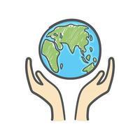 globo e mãos doodle. ícone de terra desenhado à mão sobre fundo branco. vetor