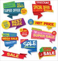 Modern sale stickers and tags coleção colorida vetor