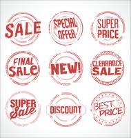 Carimbo de borracha grunge super coleção de vetores de venda