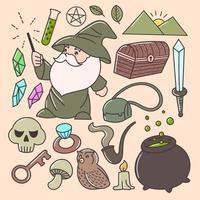 conjunto de feiticeiro fofo para o dia das bruxas, crianças, impressão, arte de adesivos vetor