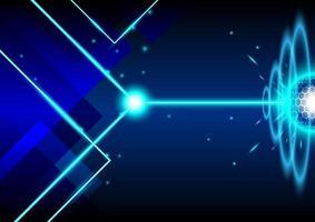 fundo abstrato de néon. o laser está disparando na forma de hexágono circular. tela azul para tecnologia futurista vetor