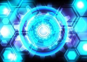 néon de luz azul. engrenagem abstrata e fundo digital de alta tecnologia hexágono. interface futurística. tela de tecnologia de realidade virtual vetor