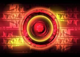 luz vermelha e amarela. fundo abstrato do círculo hud. interface futurística. tela de tecnologia de realidade virtual vetor