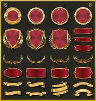 Coleção de vetores de rótulos e escudos de fitas douradas retrô