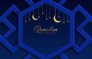 Ilustração em vetor ramadan kareem com papel azul escuro cortado em forma geométrica para celebrações do mês sagrado islâmico