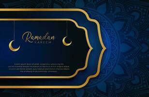 Ramadan Kareem fundo com ouro e azul ilustração vetorial de estilo de luxo para as celebrações do mês sagrado islâmico decorado com lua e arabescos de mandala vetor