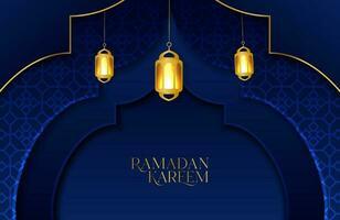 Ramadan kareem fundo com papel azul escuro cortado de forma geométrica ilustração vetorial de estrela dourada e lanterna para celebrações do mês sagrado islâmico vetor