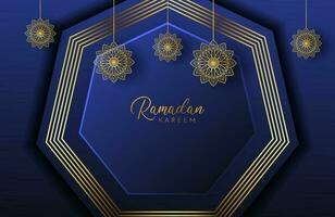 fundo ramadan kareem com mandala de ouro e formato de hexágono na marinha ilustração vetorial para celebrações do mês sagrado islâmico vetor