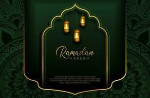 Ramadan kareem fundo com ouro e verde ilustração vetorial de estilo de luxo para as celebrações do mês sagrado islâmico decorado com lanterna e arabescos de mandala vetor