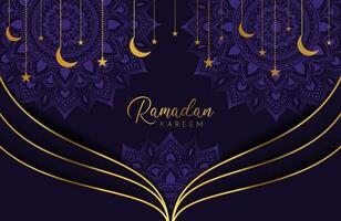 fundo ramadan kareem com lua dourada e estrelas na ilustração vetorial roxa para as celebrações do mês sagrado islâmico vetor