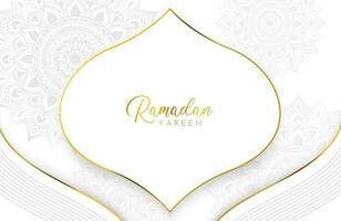 fundo ramadan kareem com mandala dourada e enfeite de corte de papel branco vetor