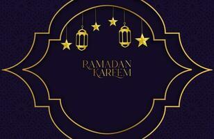 Ramadan kareem fundo com papel roxo escuro cortado de forma geométrica ilustração vetorial de estrela dourada e lanterna para as celebrações do mês sagrado islâmico vetor