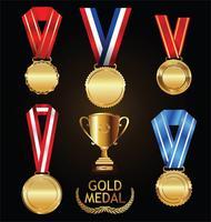 Troféu de ouro e medalha com coleção de vetor de coroa de louros