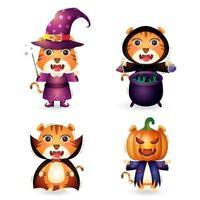 tigres fofos com fantasia de coleção de personagens de halloween vetor