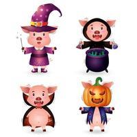 Porco fofo com fantasia de coleção de personagens de halloween vetor