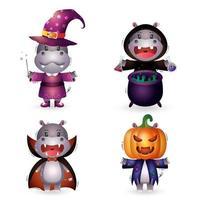 hipopótamo fofo com fantasia de coleção de personagens de halloween vetor