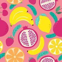 mão desenhada frutas bonito padrão sem emenda, laranja, banana, pomeganate, cereja, morango, limão e folhas em fundo rosa pastel. ilustração vetorial. vetor