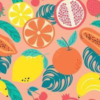 mão desenhada bonito padrão sem emenda frutas, laranja, banana, pomeganate, cereja, morango, limão e folhas em fundo laranja pastel. ilustração vetorial. vetor